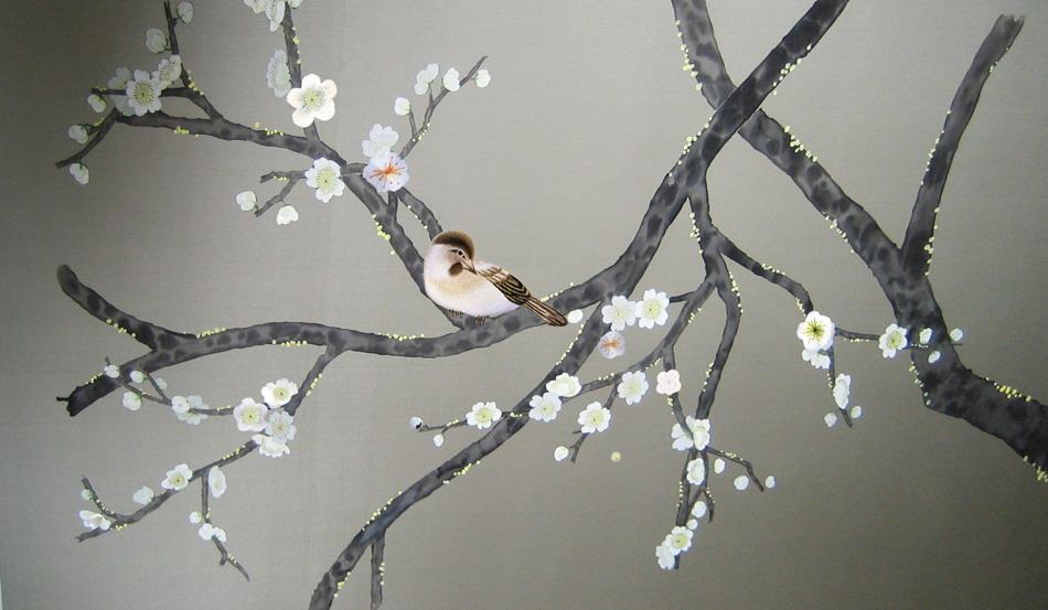 hand painted wallpaper chinoiserie wallpaper silk wallpaper 950x553