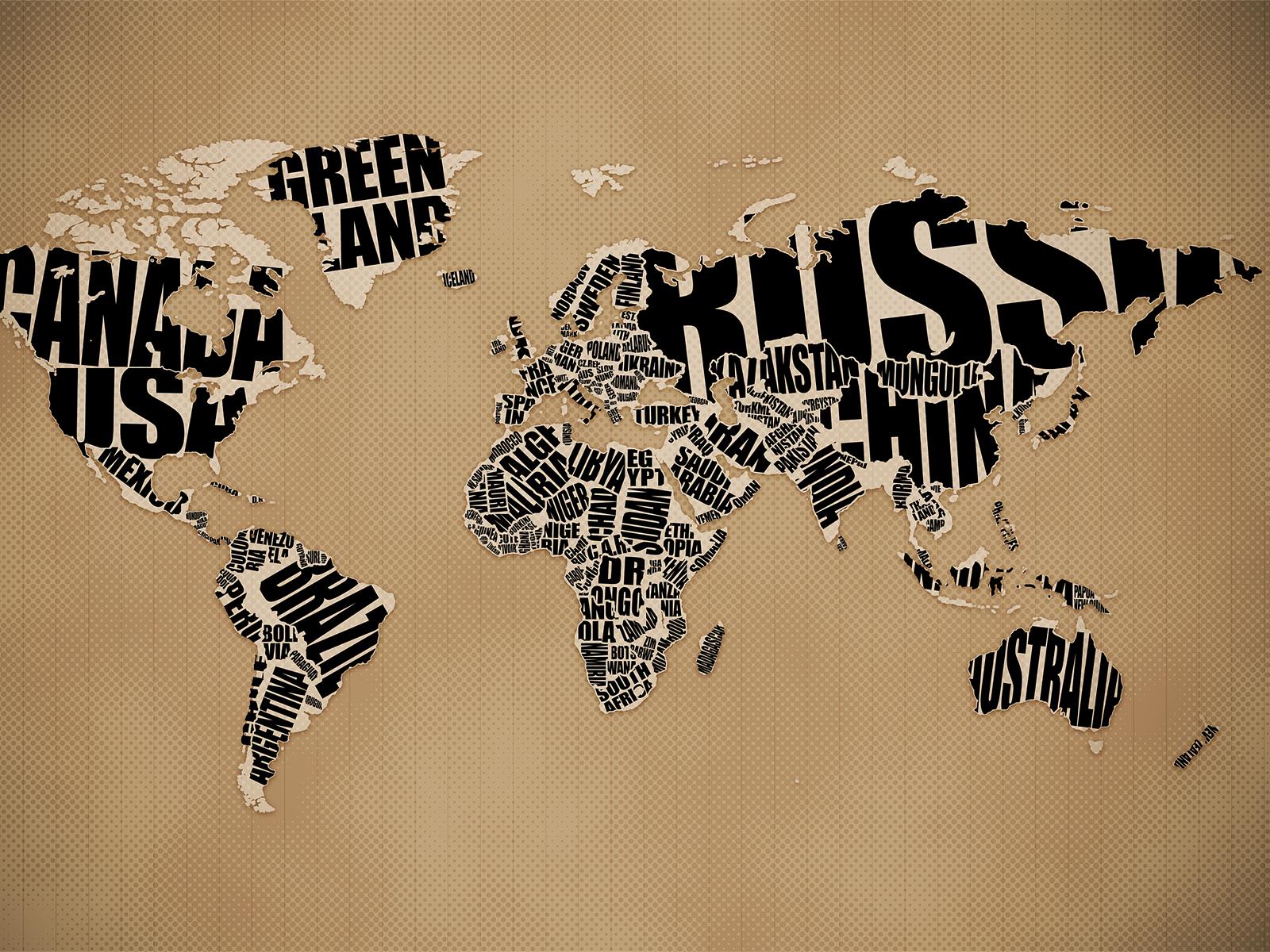 Typographic World Map Desktop Wallpaper Vlad Studio Kelsos 1600x1200