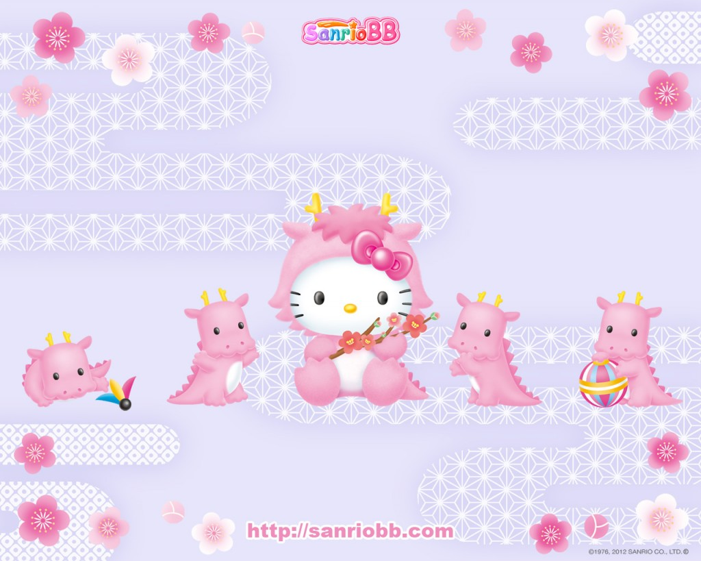 cute Hello Kitty wallpaper with Hello Kitty dressed as a pink dragon 1024x819