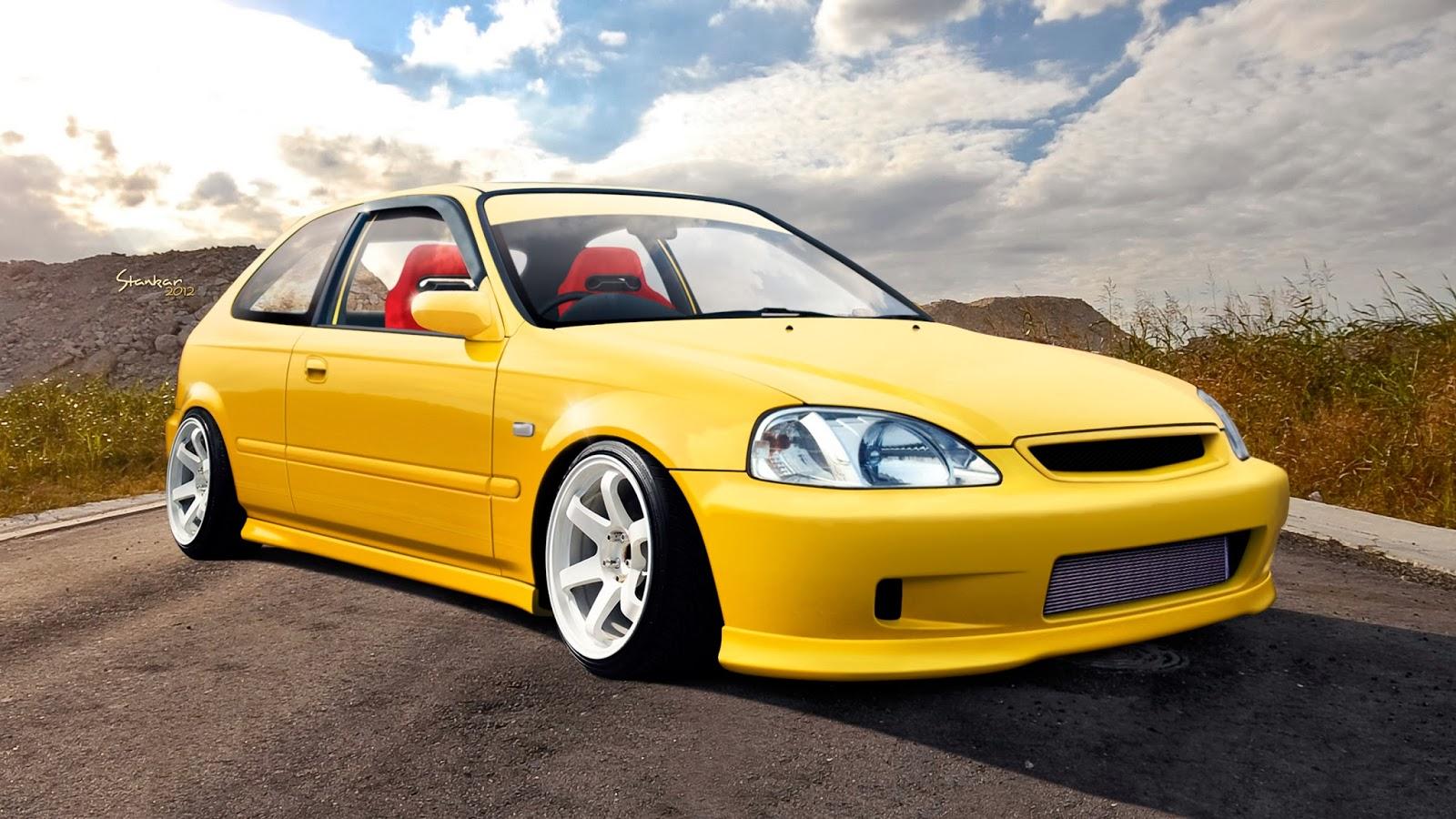 jdm modification wallpaper Honda EG6 JDM Yellow JDM Wallpaper 1600x900