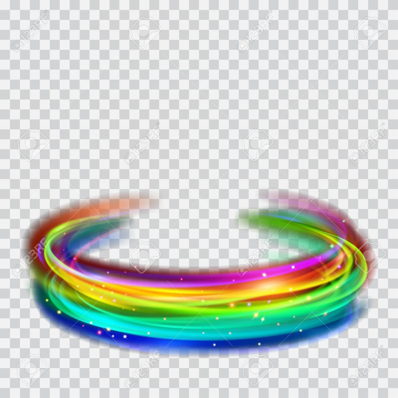 Multicolored Glowing Fire Rings With Glitter On Transparent 1300x1300