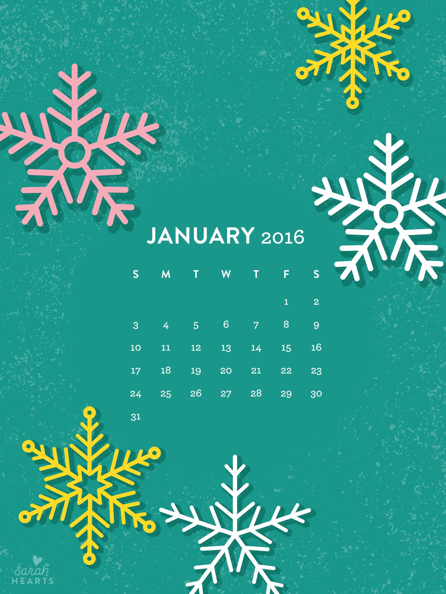 January 2016 Calendar Wallpaper   Sarah Hearts 1536x2048