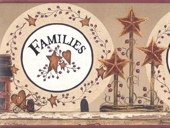 Families Are Forever Wallpaper Border BG1618BD country barn stars 564x427