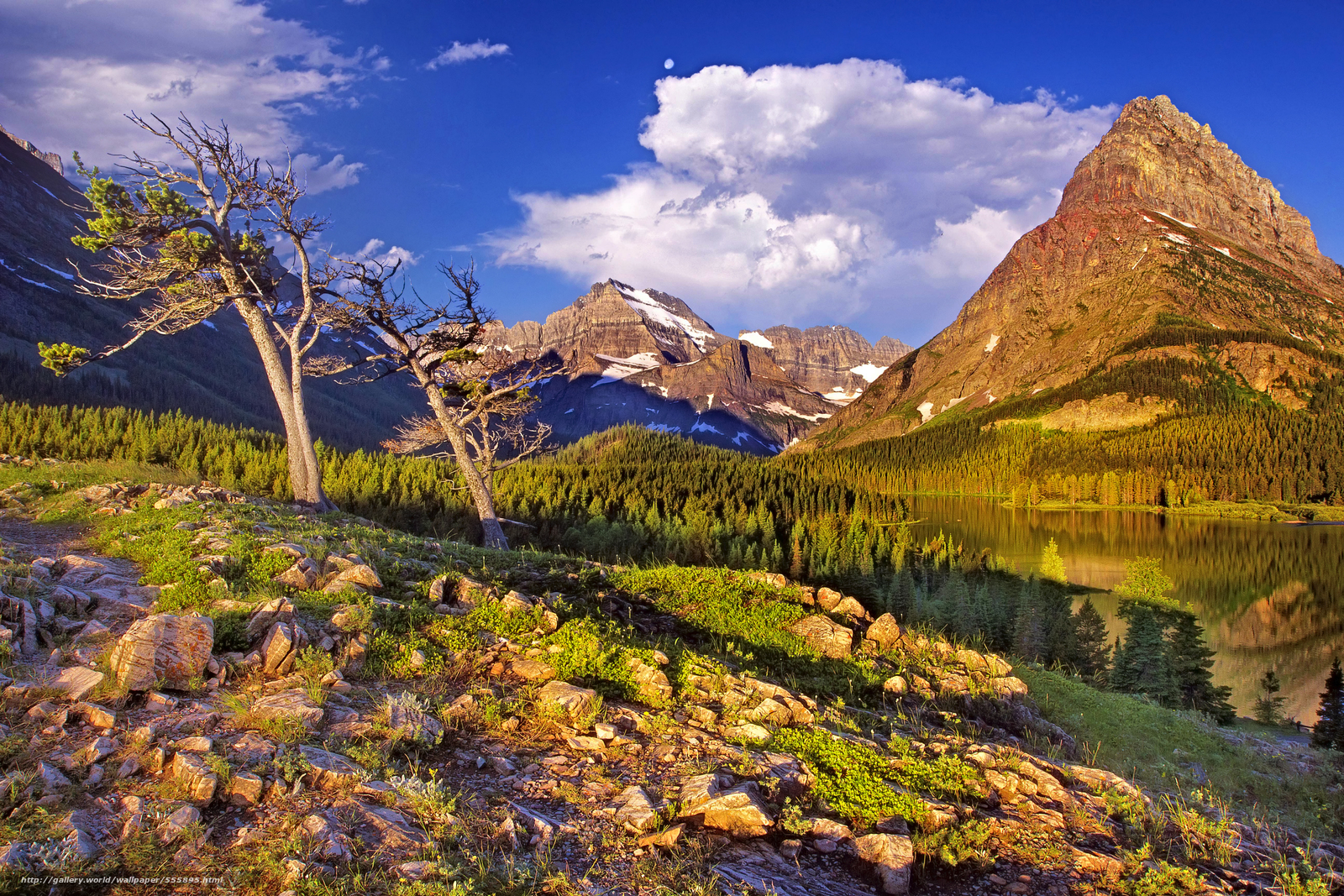 Download wallpaper Glacier National Park Mountains lake landscape 1600x1067