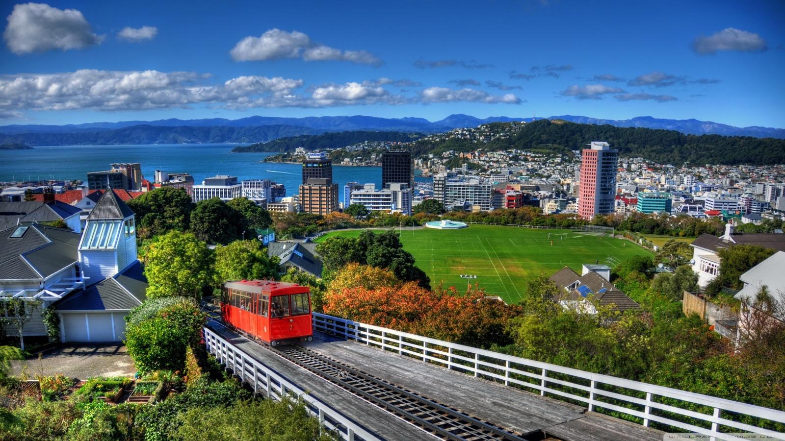 New Zealand Houses Wellington From Above 4K HD Desktop 1600x900
