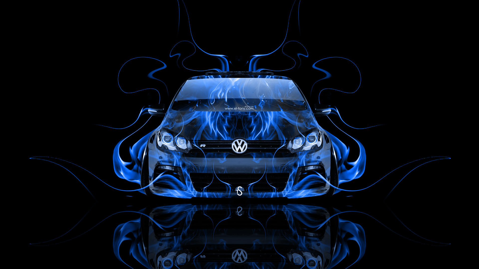 Volkswagen Golf R Front Blue Fire Abstract Car 2014 HD Wallpapers 1920x1080