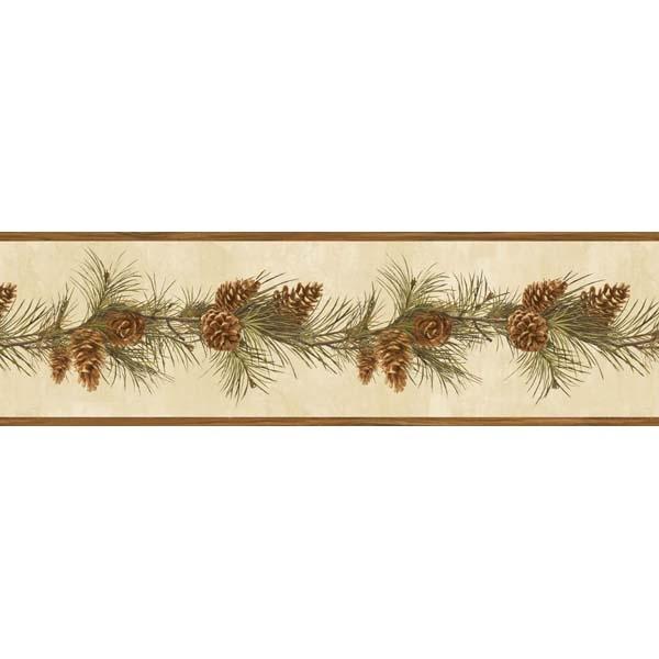 Pine Cone Boughs Wallpaper Border BBC48401B Lodge Cabin 600x600
