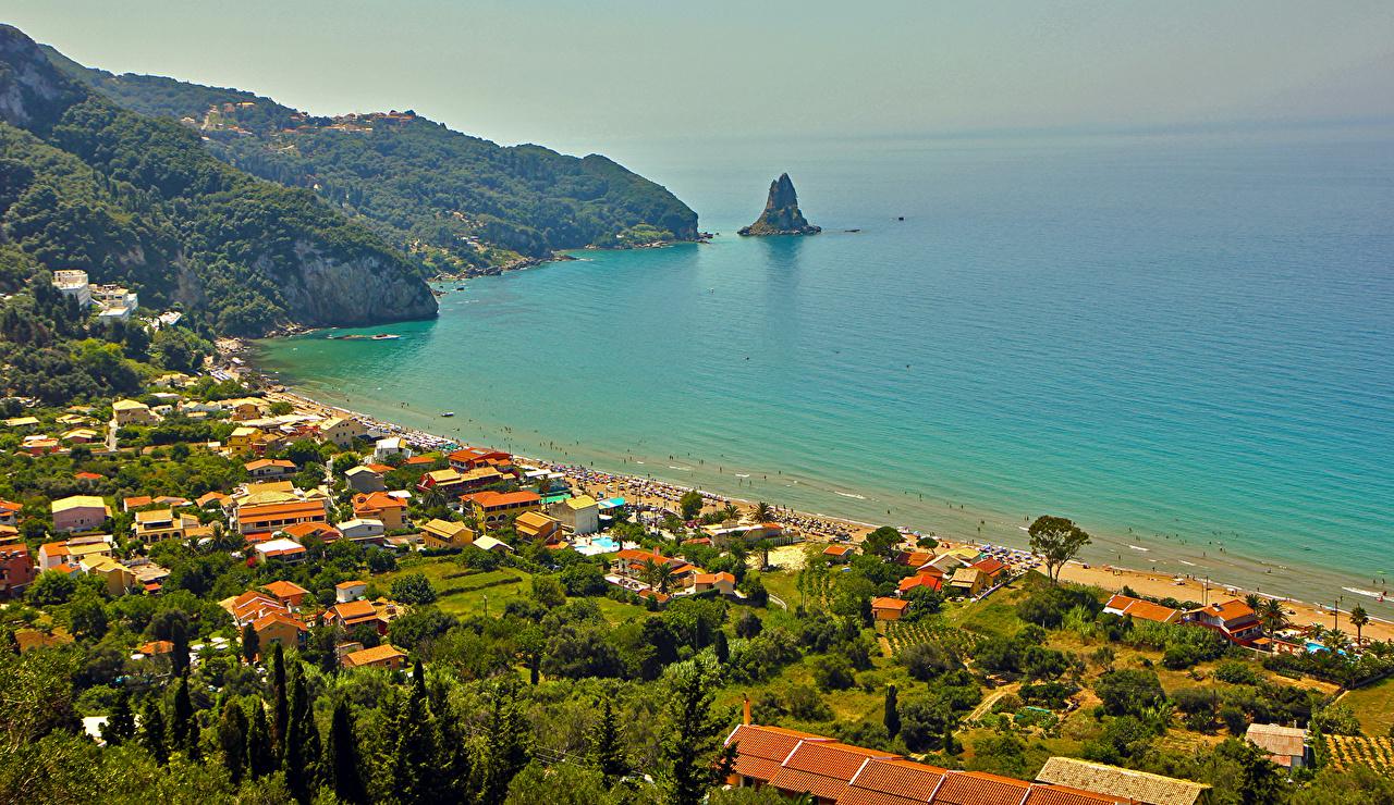 Wallpapers Greece Agios Gordios Corfu Coast Cities Building 1280x740