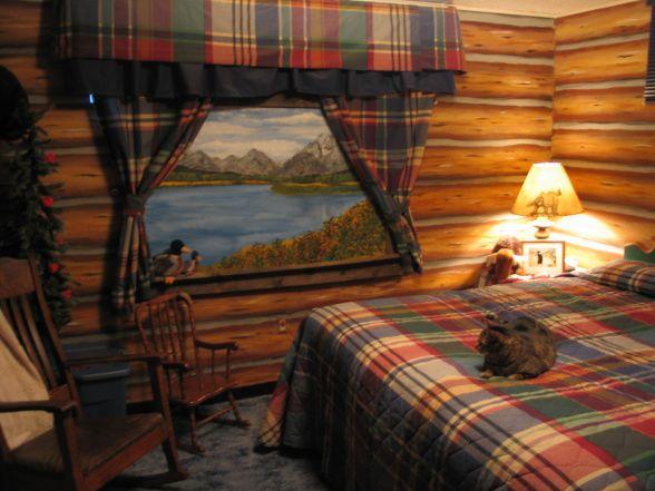 faux log cabin wallpaper Log Cabin Retreat Log cabin in the 588x441