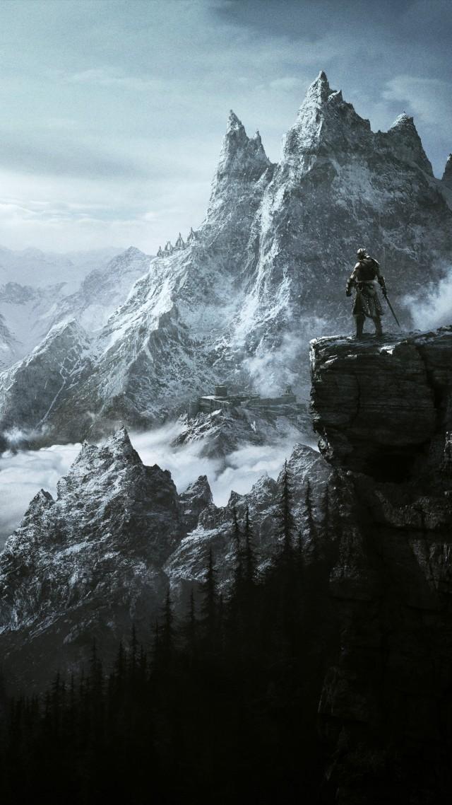 Wallpaper Games RPG Skyrim RPG mountains warrior game 4k 640x1138