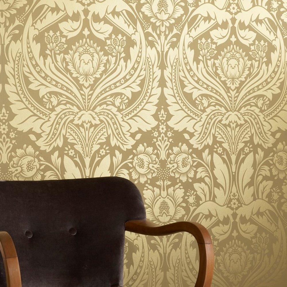 Graham Brown Desire Shimmer Damask Motif Pattern Gold Wallpaper 50 1000x1000