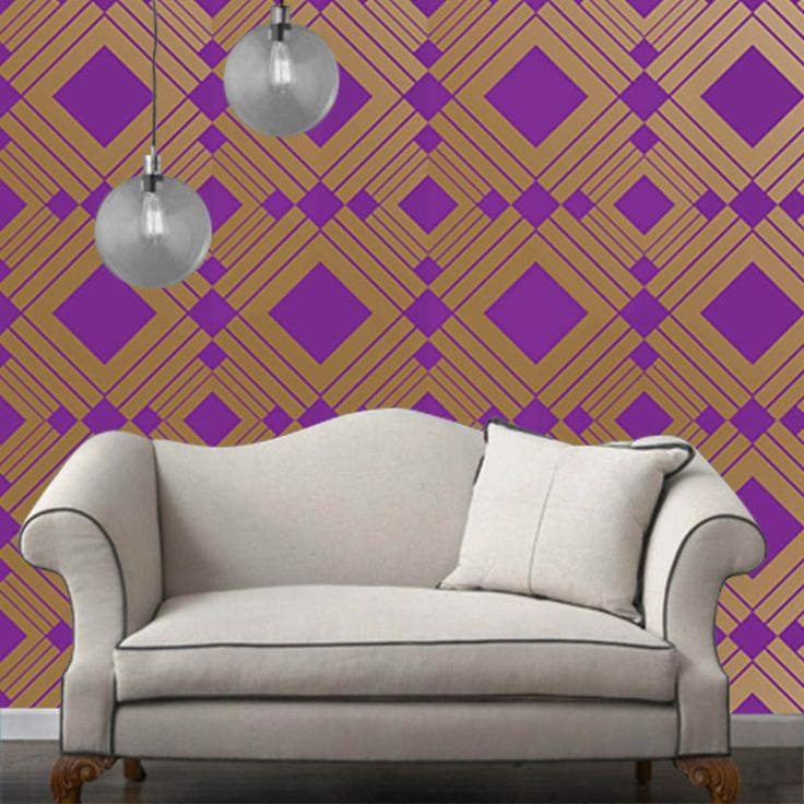 Temporary Wallpaper   Diamond   Metallic GoldViolet   Removable 736x736