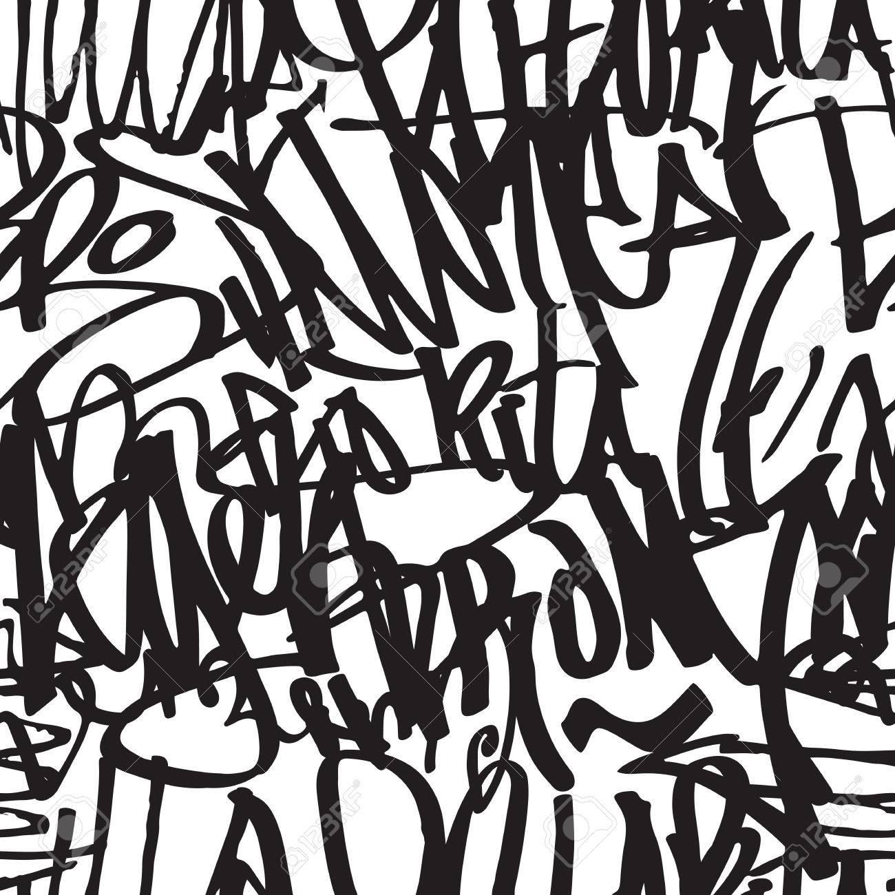 Graffiti Background Seamless Pattern Vector Tags Writing 1300x1300
