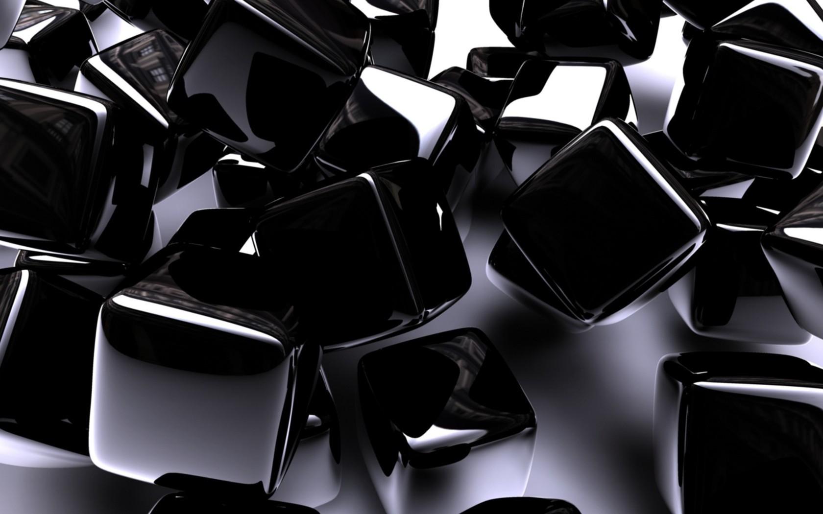 Download Shiny black cubes wallpaper 1680x1050