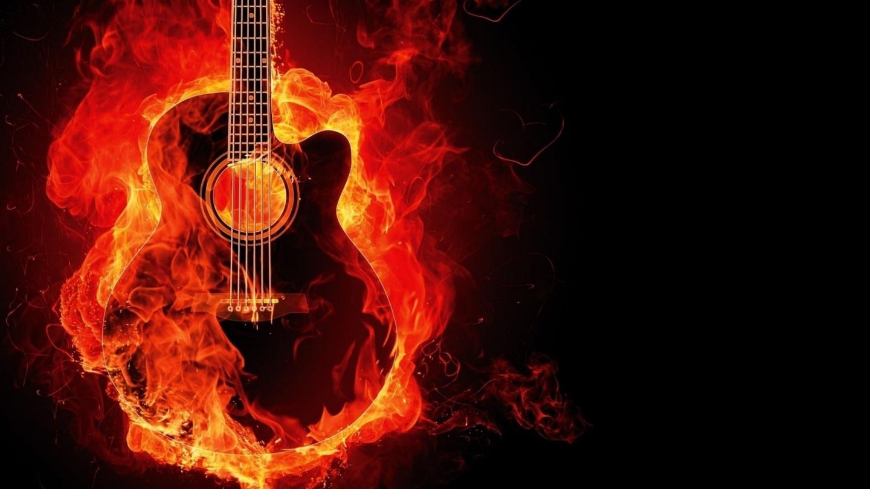Guitar Flame Fire Music Hot Fire Wallpaper Hot Wallpaper Photo 1440x810