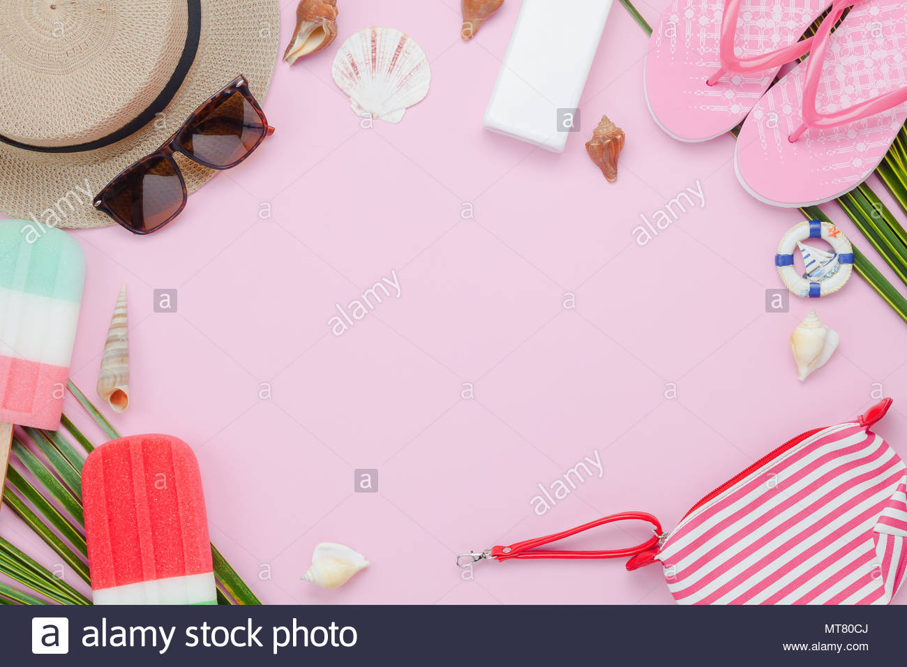 Table top view aerial image of fashion to travel in summer holiday 1300x956