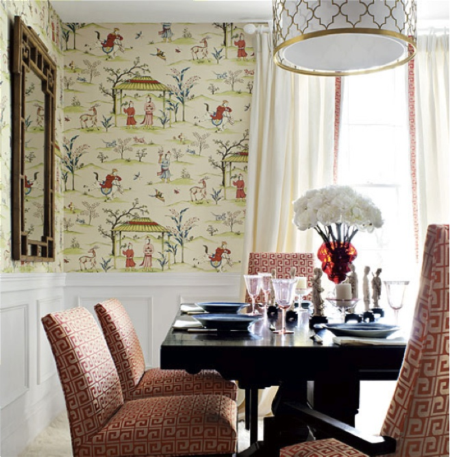 Dining room wainscot wallpaper living dining rooms Pinterest 657x667