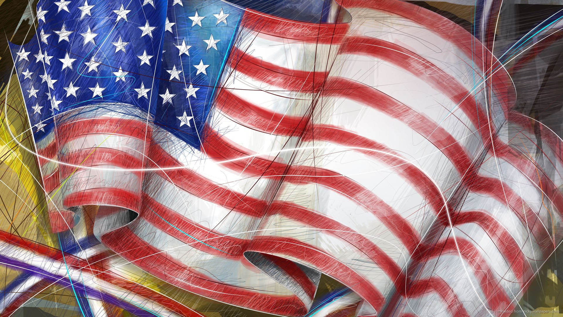 Hand drawn American Flag Screensaver For Amazon Kindle DX 1920x1080