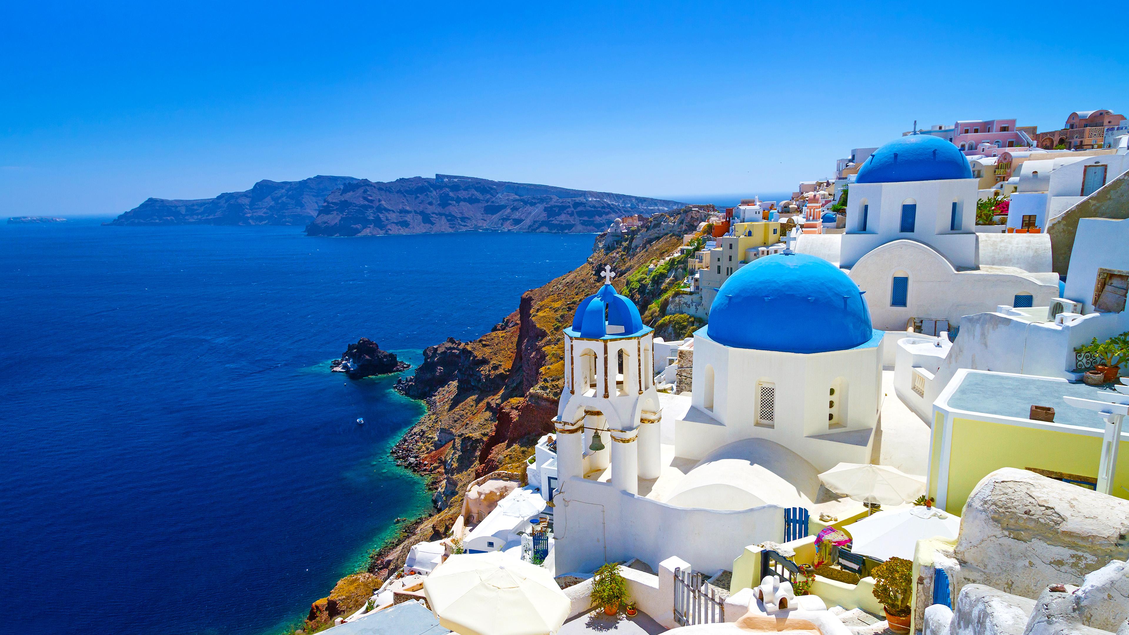Santorini Cyclades Islands Aegean Sea Greece 4K Wallpaper 3840x2160