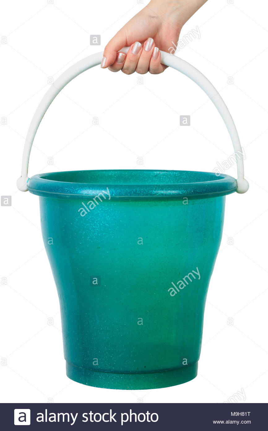 womans hand holding a bucket on an isolated white background 866x1390