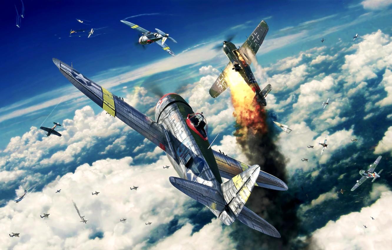 Wallpaper Thunderbolt P 47 Dogfight WWII Fw190 Jug P 47D 1332x850