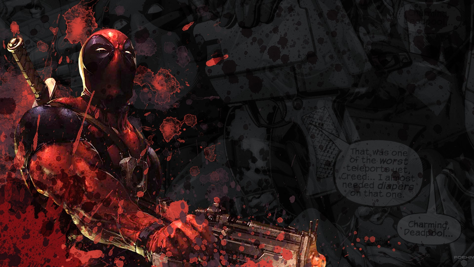 Deadpool Guns Marvel Comics HD Wallpaper 1920x1080 a76 1920x1080