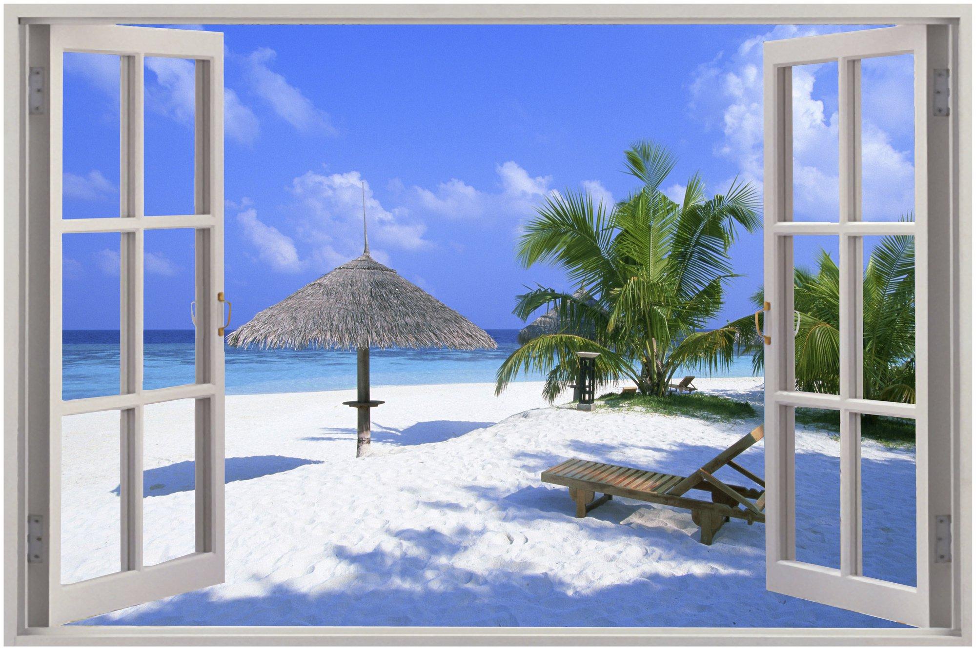 Window Exotic Beach View Wall Stickers Film Mural Art Decal Wallpaper 2000x1333