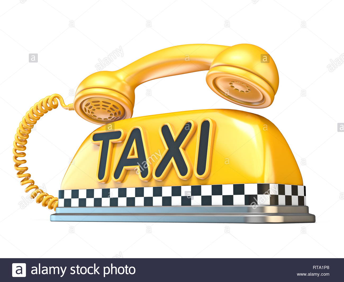 Taxi sign with telephone handset 3D rendering illustration 1300x1065