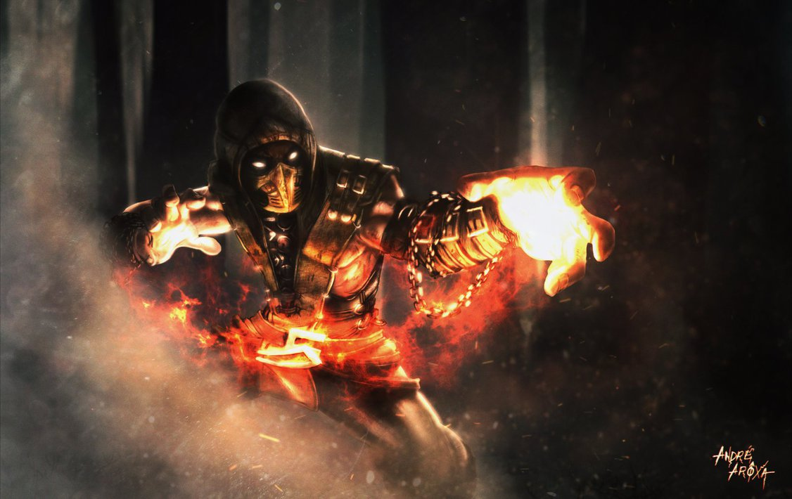 SCORPION   MORTAL KOMBAT X GET OVER HERE by andrearoxa on 1126x710