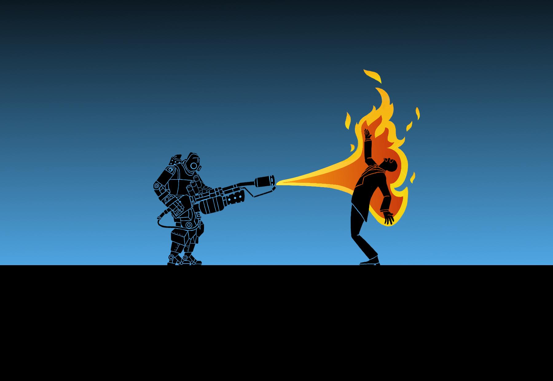 Free download TF2 Pyro bot x Spy Wallpaper by Bielek [1800x1240] for