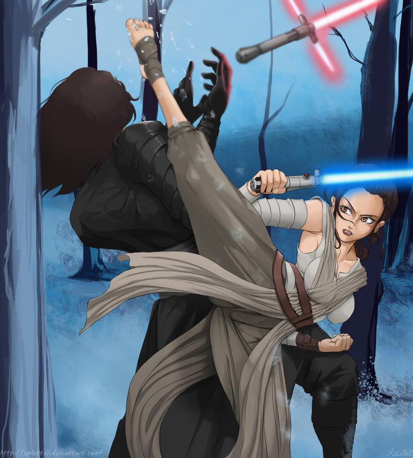 Rey fights Kylo Ren by xplotter 849x941