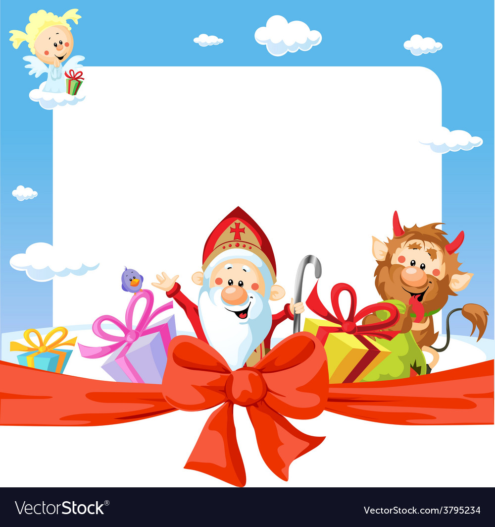 Saint nicholas frame   funny background Royalty Vector 1000x1063