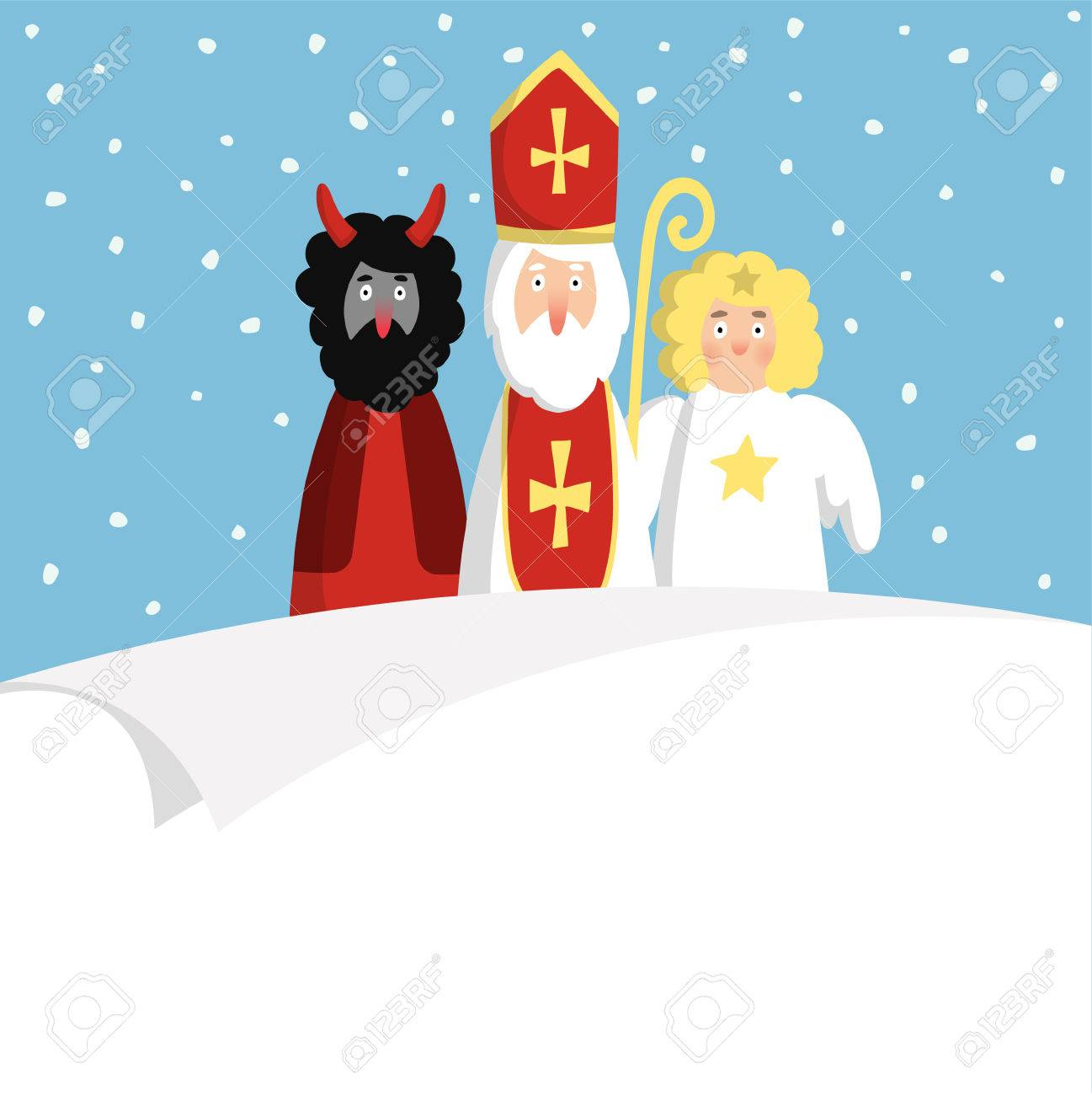 St Nicholas With Devilangel And Blank Paper Cute Christmas 1297x1300