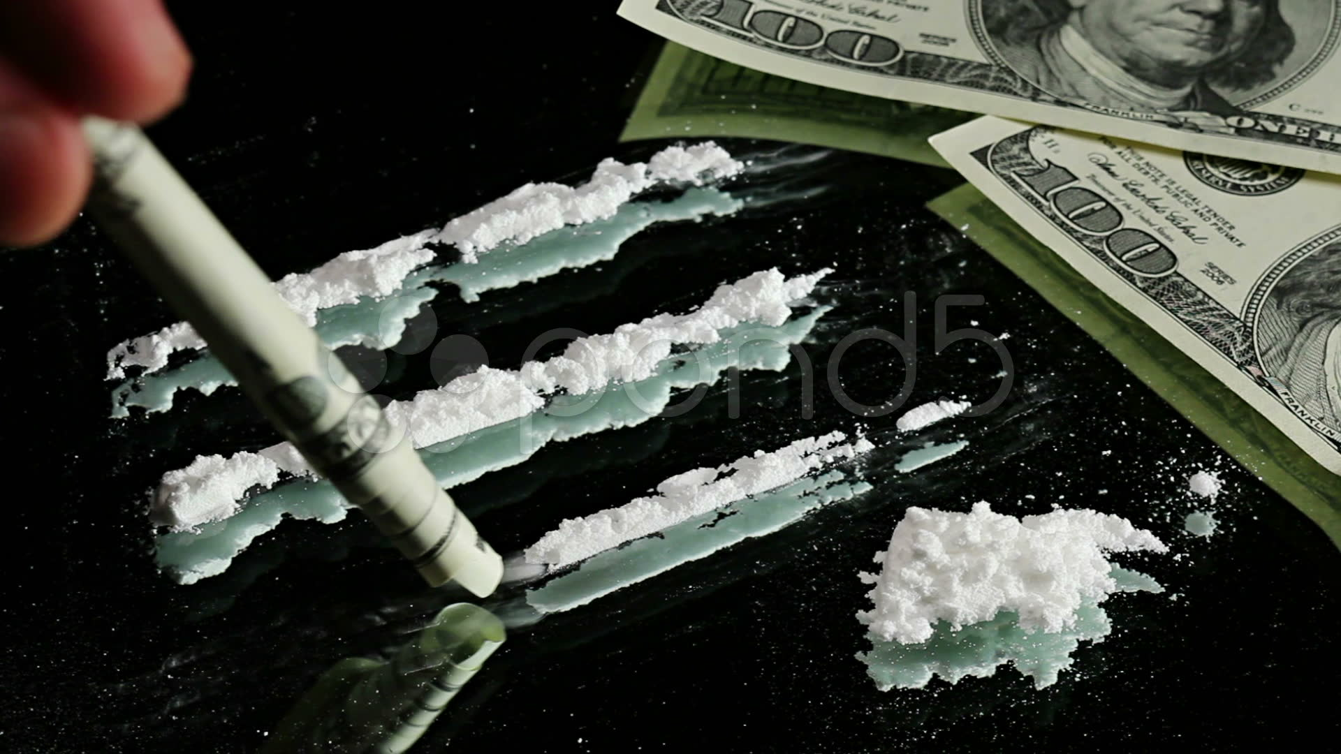 Cocaine Snorted Through Rolled 100 Dollar Banknote Stock Video 1920x1080