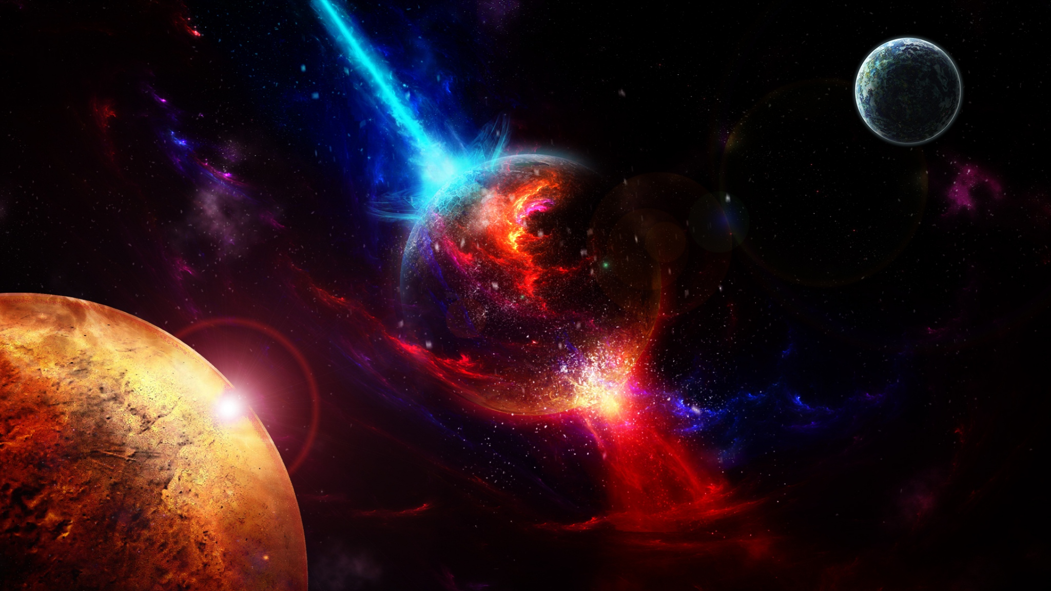Download Wallpaper 2048x1152 Space Planets Takeoff Explosion HD HD 2048x1152