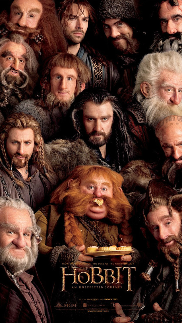 The Hobbit and all the Dwarves iPhone Wallpaper 640x1136