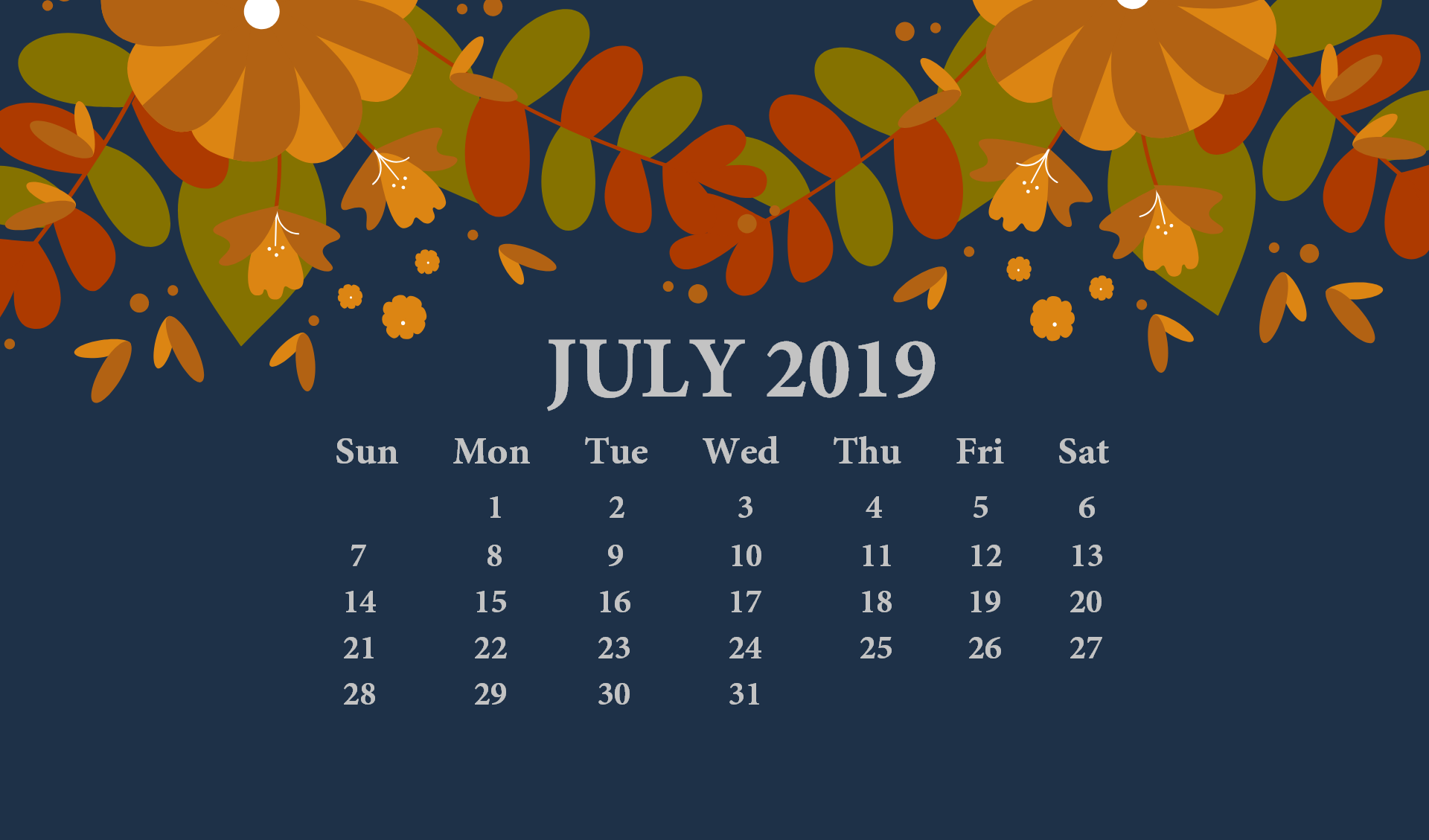 July 2019 Desktop Wallpaper With Calendar Desk Calendar in 2019 1920x1129