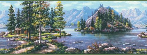 Green Mountain View Wallpaper Border at Menards 500x187