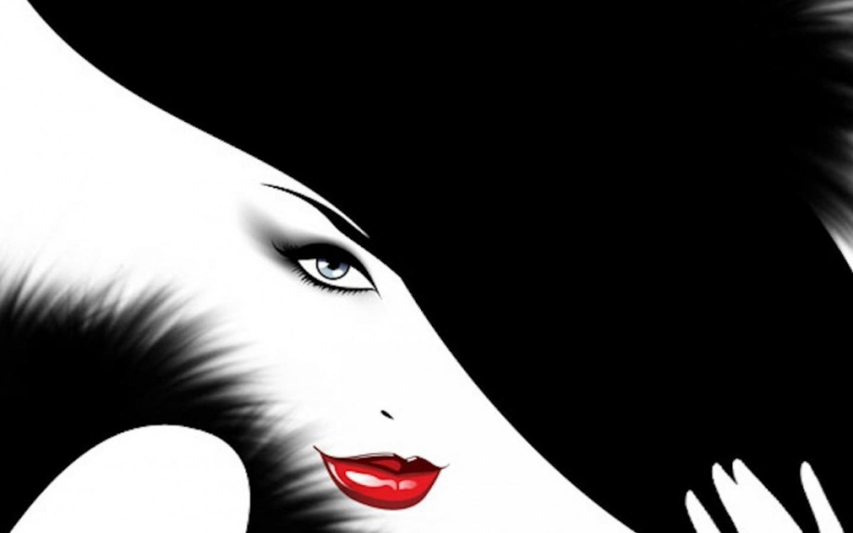 Black white red lips wallpaper 1440x900