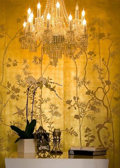 Chinoiserie Wallpaper Gold Foil Silk Wallpaper   Eastern Classical 402x560