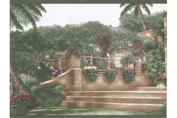 Home Green Palm Tree Landscape Wallpaper Border 600x400