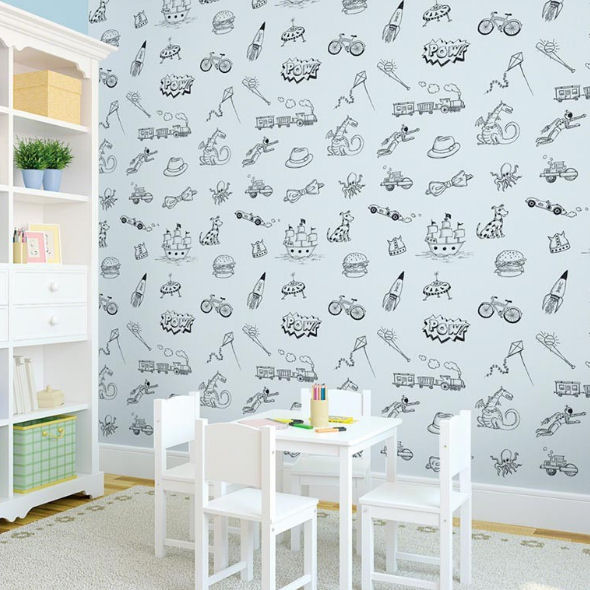 Doodle Blue and Black Peel Stick Wallpaper   Wall Sticker Outlet 590x590