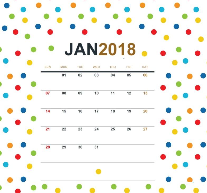 January 2018 Office Desk Calendar Calendar 2018 784x732