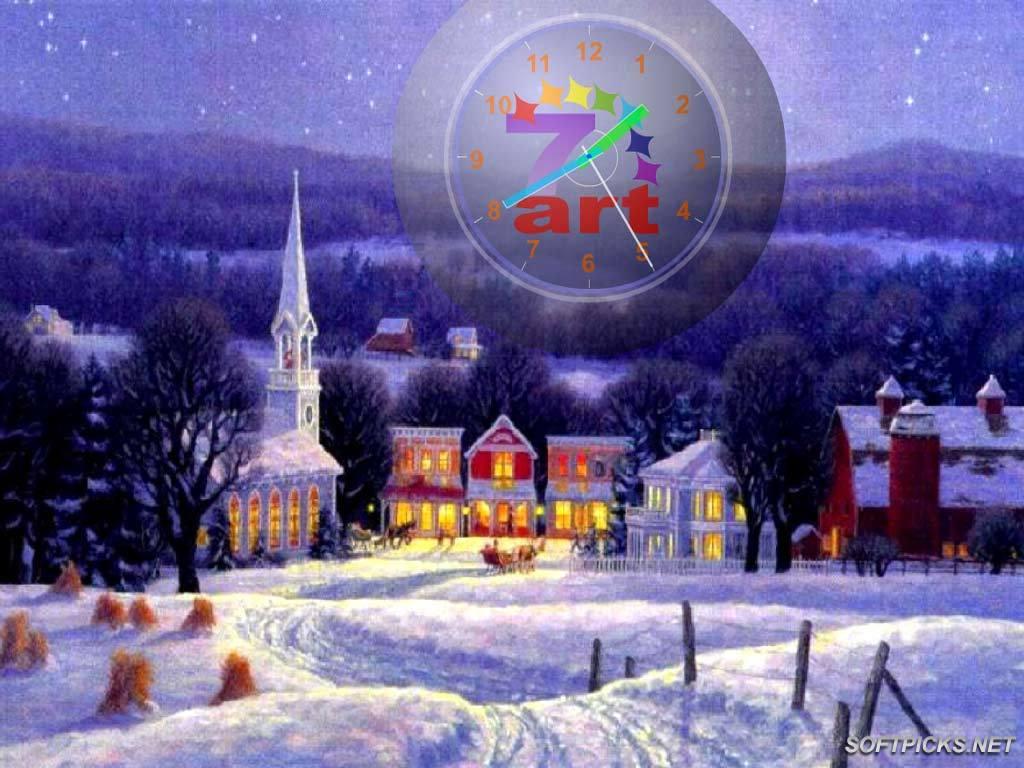 Publisher description for 7art Christmas Clock ScreenSaver 1024x768