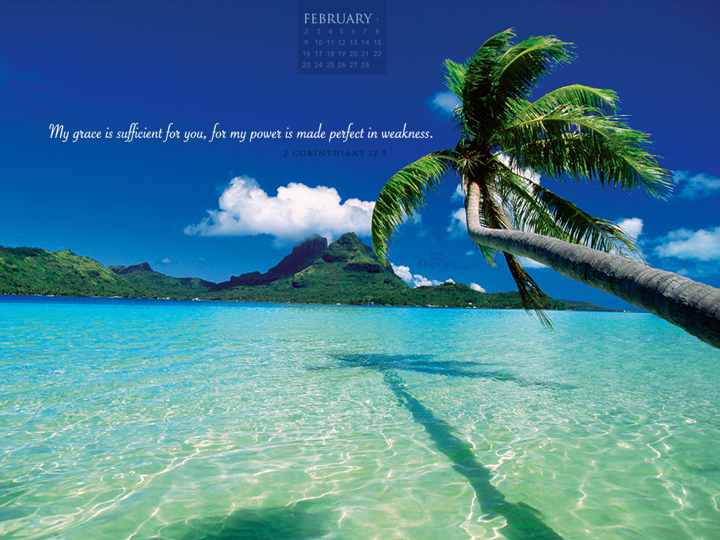 February 2014   2 Corinthians 129 Desktop Calendar  Monthly 1024x768