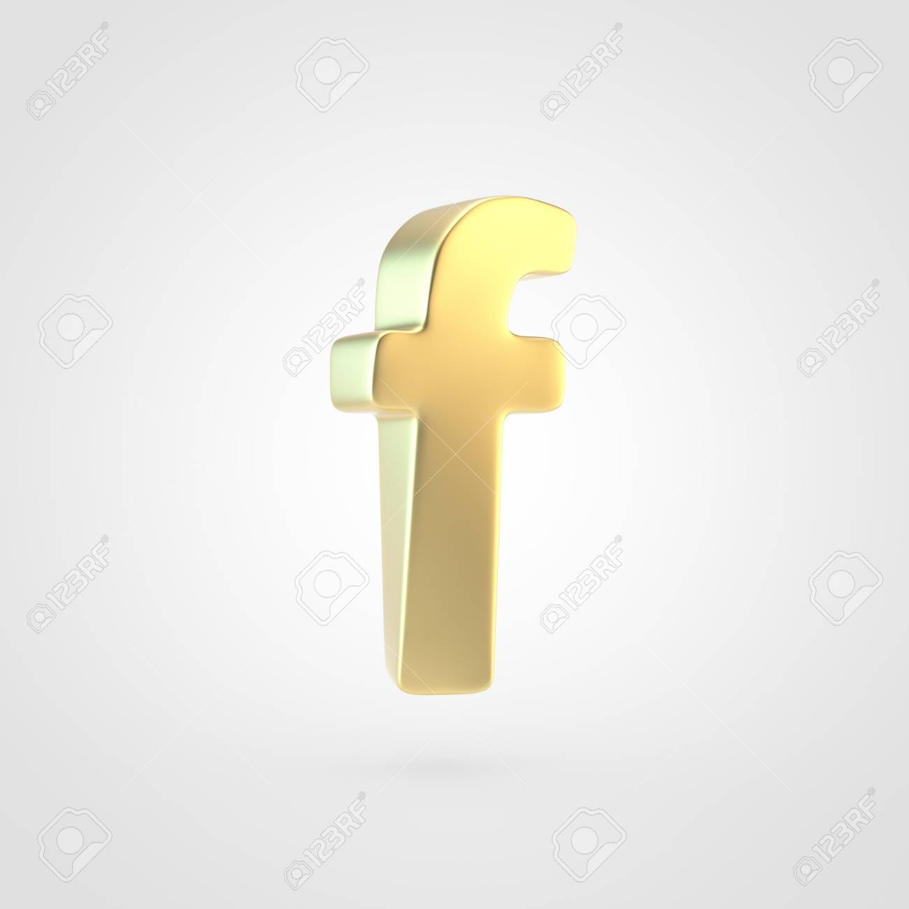 Golden Letter F Lowercase 3D Rendering Of Matted Golden Font 1300x1300