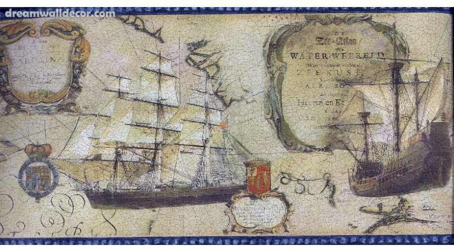 Home Old World Map Ships Blue Trim Nautical Wallpaper Border 900x500