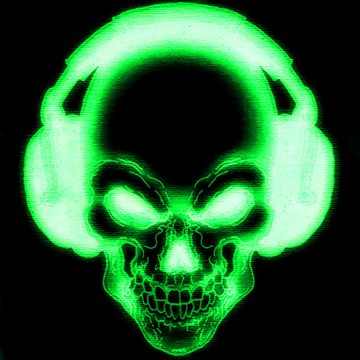 Black And Green Skull Wallpaper Green skull with headphones by 700x700