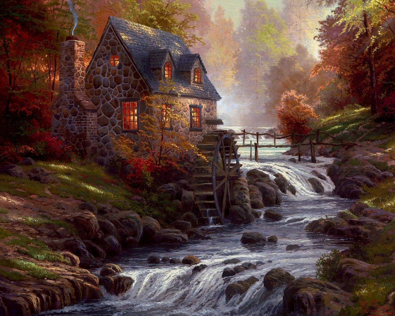 Thomas Kinkade Wallpapers Art Paintings Desktop Wallpaper 1280x1024