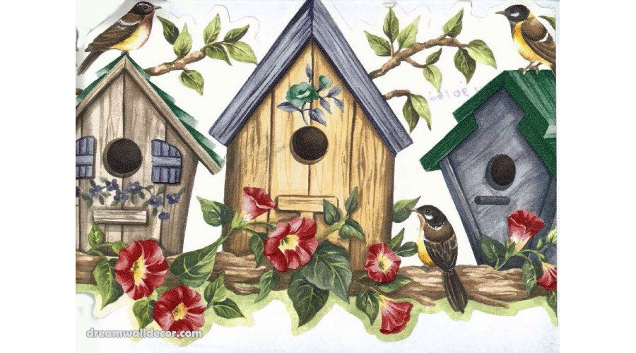 Home Yellow Bird House Wallpaper Border 900x500